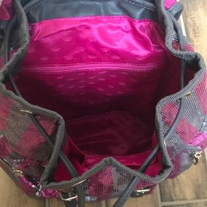 Juicy Couture Bags - Juicy Couture Pink Stripe Sequin Backpack NWT